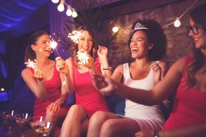 4 girls celebrating a bachelorette party