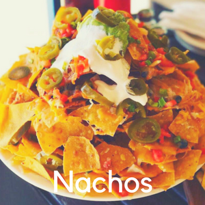 A plate of nachos piled high