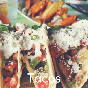 Three tacos on a plate