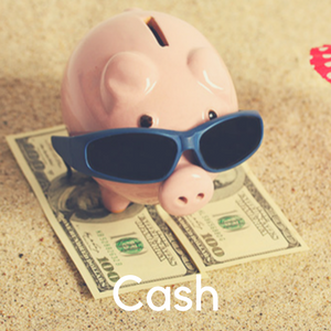 A piggy bank wearing sunglasses sitting on a pile of money