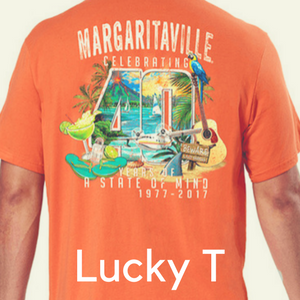 A man in a Margaritaville Caribbean t-shirt