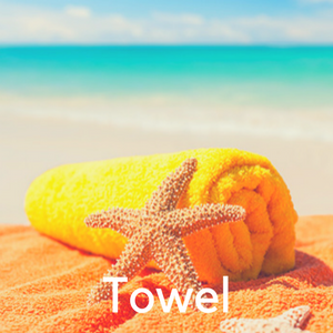 A towel with a starfish on the beach