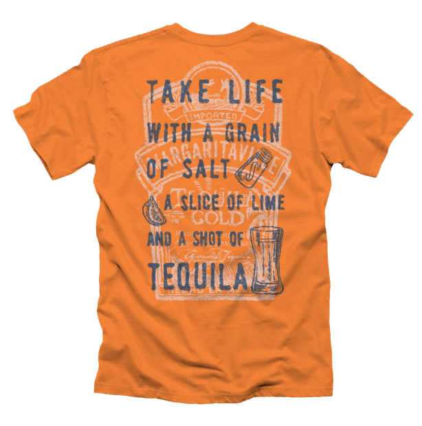 An orange t-shirt embroidered with 'take life with a grain of salt, a slice of lime and a shot of tequila'