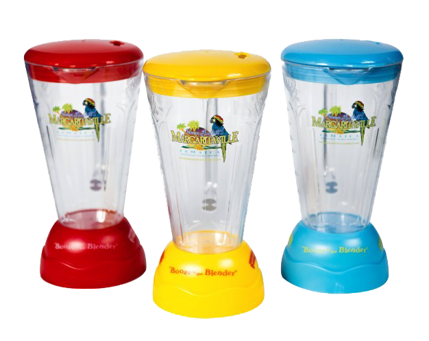 The iconic Margaritaville blender cup in red, yellow and blue